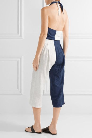 Solid and Striped - The Camille Color-block Cotton-blend Voile Halterneck Jumpsuit - Navy - x small