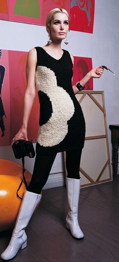 Flower Motif Dress 1960s vintage fashion style color photo print ad model magazine knit sweater dress mod go go boots twiggy graphic 60s