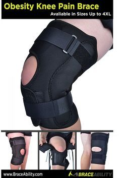 Obesity Knee Pain Brace--This big knee brace has all the features of a quality knee brace for obese people—a wrap-around design that is closed in the front, heavy-duty hinges and it is made of a lightweight, breathable neoprene alternative. This is a perfect brace for therapy and rehabilitation or general protection for your knee. Visit www.BraceAbility.com today to see all of our plus size knee braces! :)