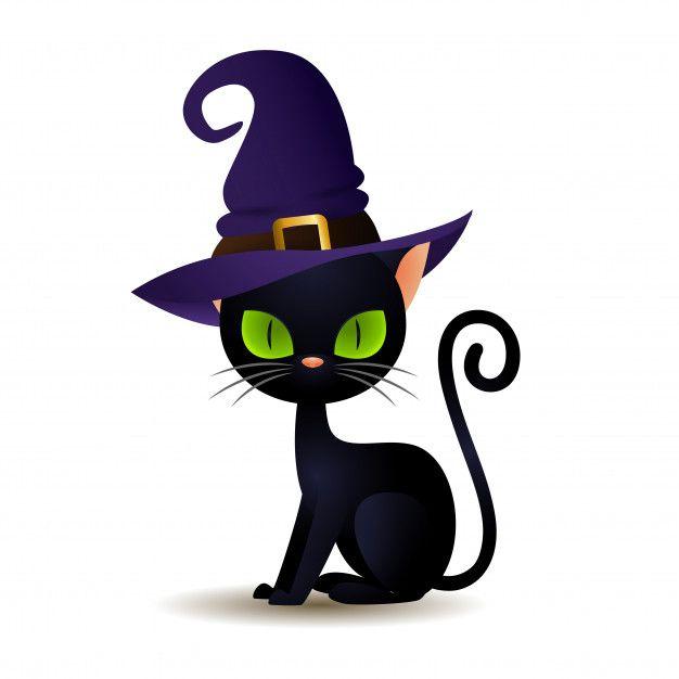 Skachivajte Chernaya Koshka V Shlyape Vedmy Besplatno Halloween Cat Black Cat Illustration Black Cat