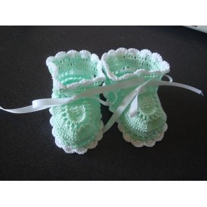 Crochet Pattern Central - Free Baby Booties and Mittens Crochet Baby Pint...