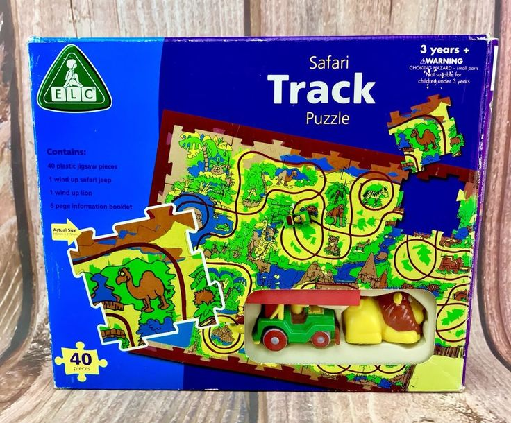 ELC SAFARI TRACK PUZZLE 40 pieces with 2 wind up toys- a Lion and a Jeep