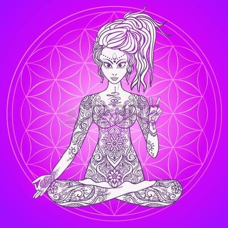 sacred geometry background girl meditates in the lotus