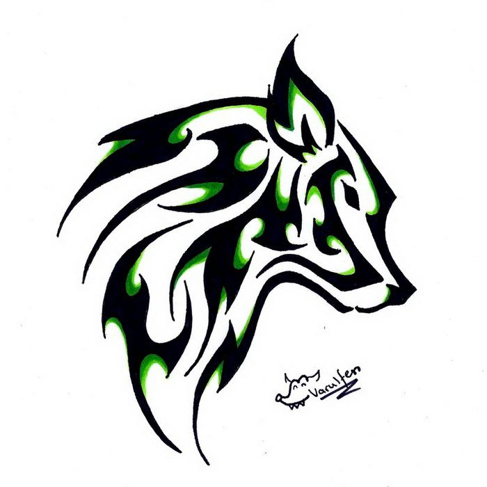 easy tribal wolf drawing - photo #31