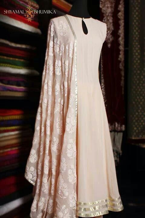 floor length anarkali. Beige is simply beautiful