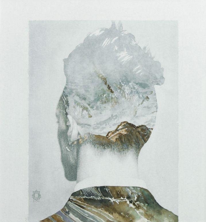 "Saatchi Online Artist: Oriol Angrill Jordà; Paper, Mixed Media ""Man Back Mountain | blendscapes"""