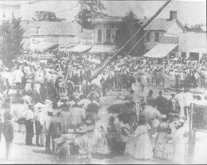 "Early Political Fun in Noblesville by David Heighway. ""This is a political rally on August 8, 1872 to support the election of Ulysses S. Grant.  A pole raising was a community building activity and an act dating back to classical Rome meant to symbolize the overthrow of tyranny."""