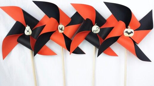 Pinwheels - Halloween, Orange and Black with White Pumpkins, Bat, Spider, Crow, Party Decor, Center Piece, Cake Topper, Fall, Holiday, Season, Autumn, Favors, Home and House Decor