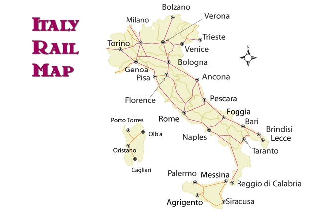 Italy train route map and guide to how to ride the trains in Italy, where they go, and how you can save money riding the train.