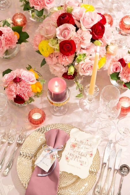 【福岡県久留米市 ホテルニュープラザKURUME・ウェディング】ピンク・大人・かわいいコーディネート