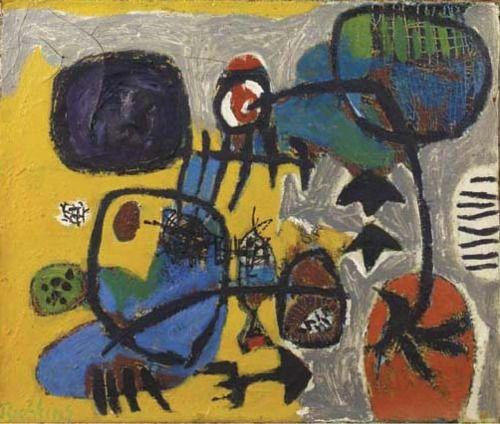 Anton Rooskens (1906-1976) De naïeve expressionistische werken werden in Amsterdam dan wel bijzonder slecht ontvangen maar in Denemarken wordt het werk van Cobra door de pers welwillend ontvangen. Als Appel naar Kopenhagen reist geniet hij daar volop van de gemoedelijke sfeer die daar heerst. In Parijs werd de betreffende tentoonstelling nog in hetzelfde jaar herhaald en eveneens positief beoordeeld, net als een solo-expositie van Appel, waarna de beweging zich hier vestigde.