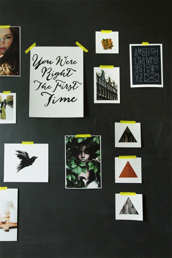 Utilize an entire wall for creative brainstorming by painting it with black chalkboard paint and using pieces of neon washi tape to display inspiring photos and quotes.   theglitterguide.com