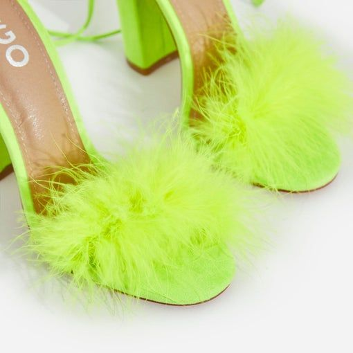 Fluffy Heel In Lime Green Faux Suede