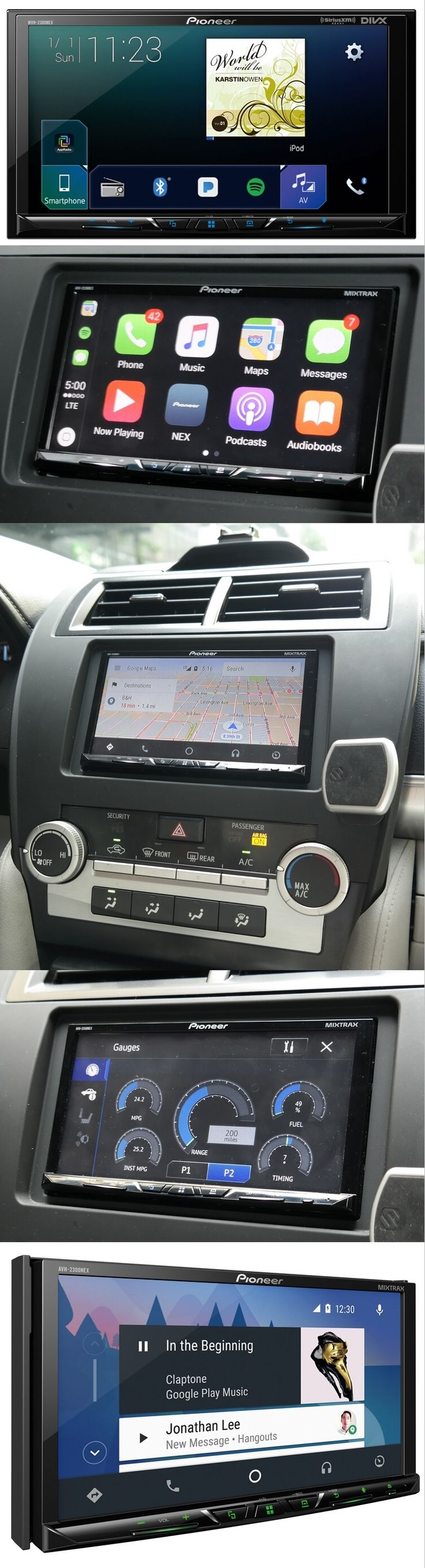 Pioneer Electronics added the new MVH-2300NEX to its in-dash car digital media receiver lineup by performing a little subtraction. The $400 unit has the same 7-inch color display and music-streaming and car-monitoring features of the AVH-2300NEX, but is $100 cheaper since there's no DVD player. The Apple CarPlay / Android Auto-compatible MVH-2300NEX supports navigation apps, back-up cameras, music streaming services like Pandora and Spotify and add-ons like the SiriusXM Vehicle Connect…