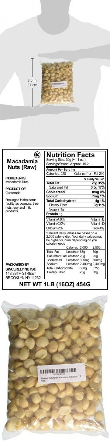 Sincerely Nuts Raw Macadamia Nuts Unsalted - One (1) Lb. Bag - Uncompromised Natural Taste - Amazingly Nutritious - Freshly Sealed. Kos… | Food ...