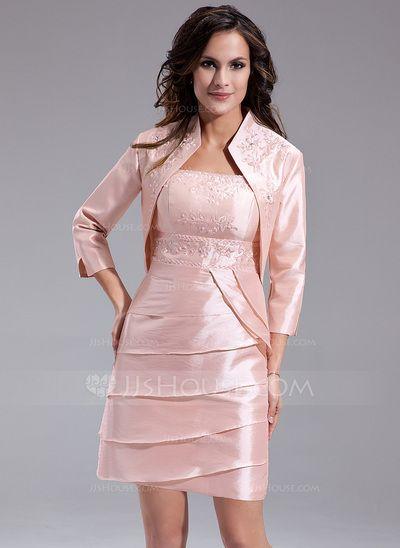 [€ 128.91] Etui-Linie Rechteckiger Ausschnitt Kurz/Mini Taft Kleid für die Brautmutter mit Perlen verziert Gestufte Rüschen (008006101)