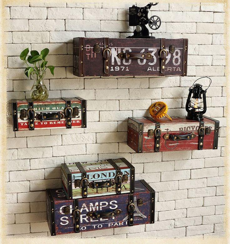 Старинные искусственная багажа чемодан живопись ktv декоративная отделка стенкупить в магазине Full house Fashion Home decorationнаAliExpress
