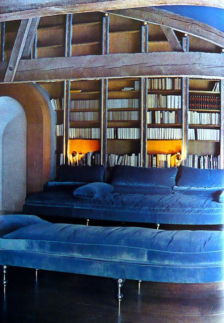 Pauline de Rothschild's famous blue library at Mouton: