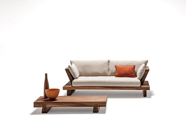 Low solid wood garden side table SUAR | Low coffee table - Il Giardino di Legno