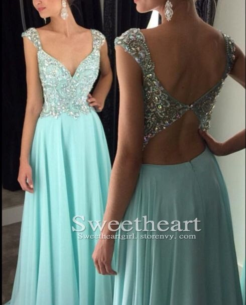 Green chiffon sequin long prom dress 2016 for teens, unique long backless prom dress,modest prom dress