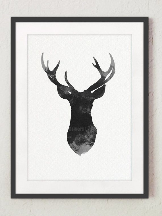 Dear head painting gray deer watercolor print by ColorWatercolor, $10.00