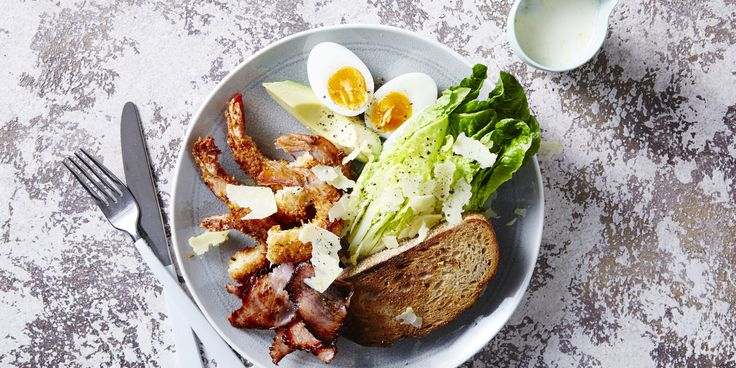 Coconut Prawn Caesar Salad via @iquitsugar Mix parm and spices in with coconut --Really for Prawns