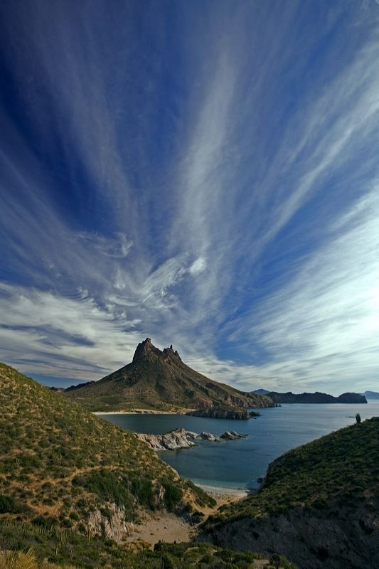 San Carlos, Sonora, Mexico.  YOLO, our sailboat is moored just below the two points of this mountain.