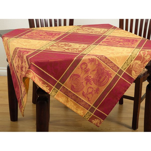 Saro Jacquard Design Thanksgiving Tablecloth ($36) ❤ Liked On Polyvore  Featuring Home, Kitchen. Holiday TableclothsHoliday ...
