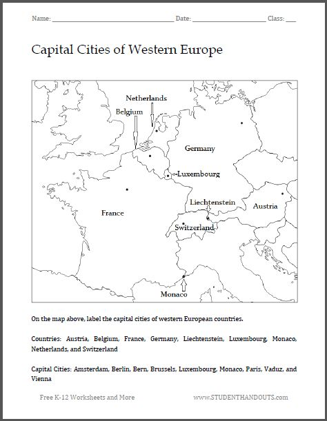 29 best world history images on pinterest history history capital cities of western europe map worksheet free to print pdf file gumiabroncs Gallery