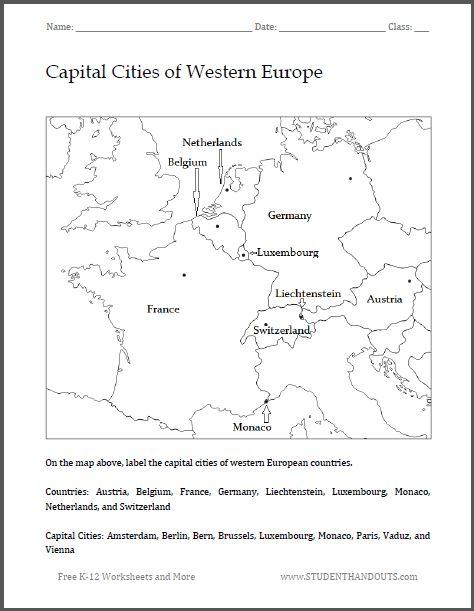 Capital Cities Of Western Europe Map Worksheet Free To Print Pdf