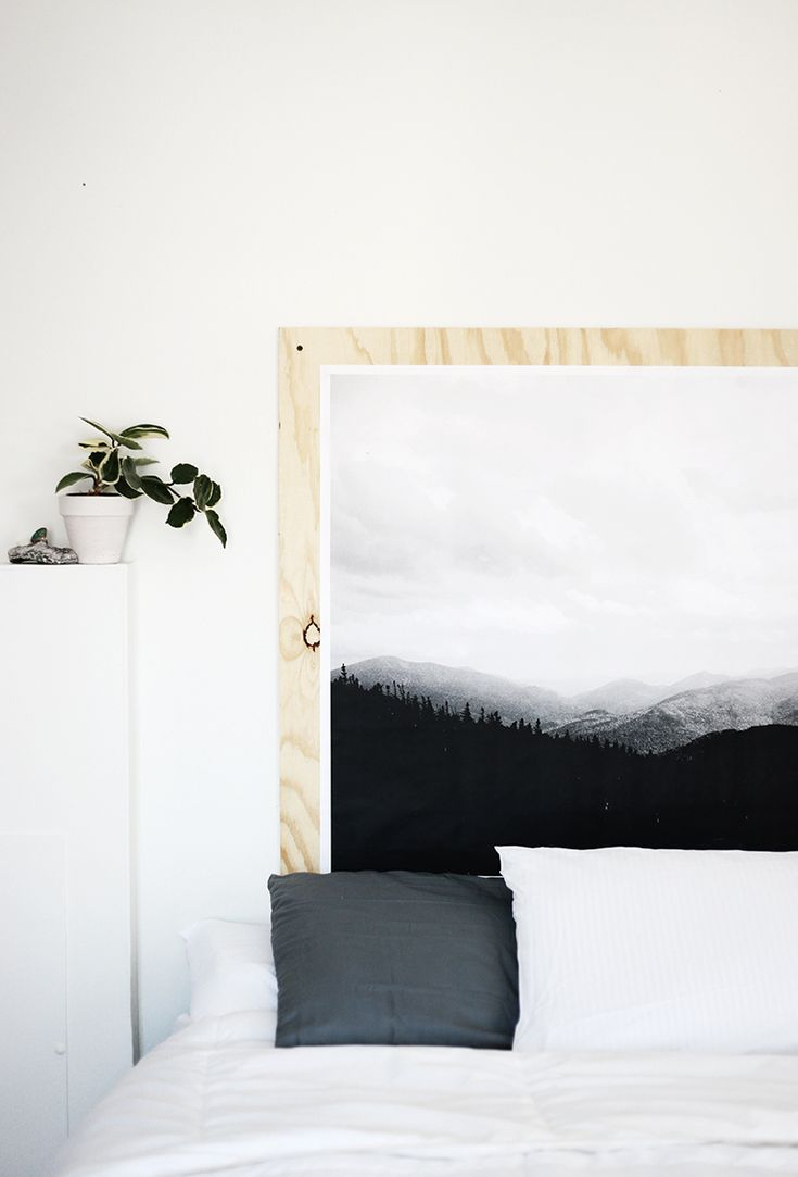 DIY Plywood Print Headboard @themerrythought >> Love the idea of mounting an engineering print on plywood