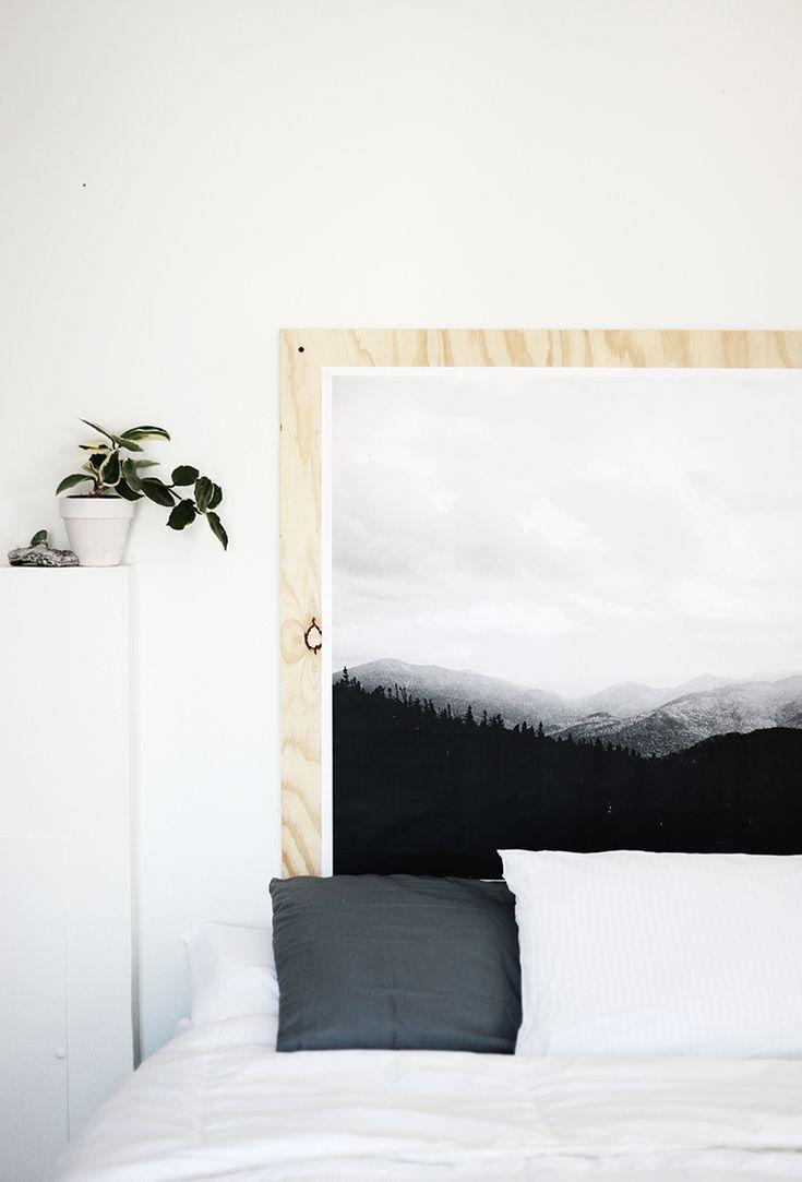DIY Plywood Print Headboard @themerrythought