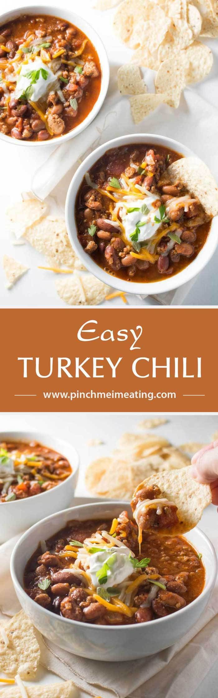 An easy turkey chili that's filling, cozy, and healthy. Perfect for dinner on a busy weeknight, and I only have to wash one pot!   www.pinchmeimeating.com