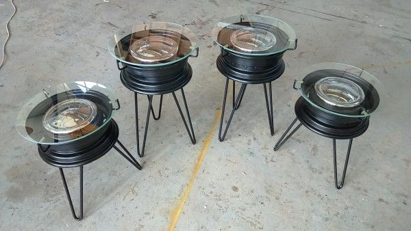 Repurposed BMX Rims Into Coffee Tables Upcycled Furniture