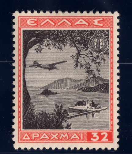 Greece Air Post Stamp 1940 SC C43 32d MH OG Red Orange & Black Pontikonisi Corfu