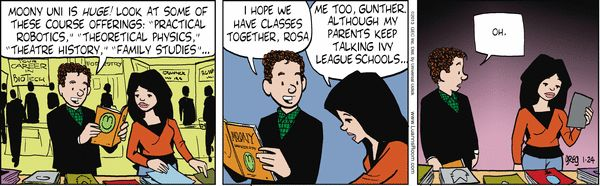 And then there's the reality that your BFF, guy/girl friend won't have the same college plans as  you.  Luann Comic Strip, January 24, 2013 on GoComics.com
