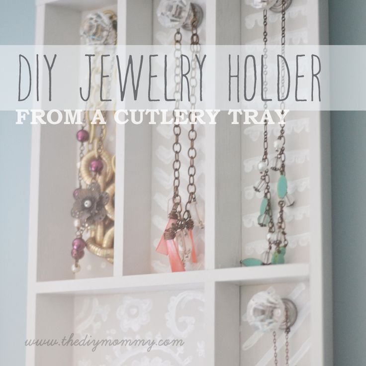 DIY Jewelry Holder from a Cutlery Tray by The DIY Mommy - http://thediymommy.com/make-a-jewelry-holder-from-a-cutlery-tray/