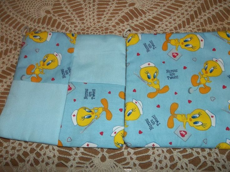"""TWITTY BIRD NURSE POT HOLDERS SIZE 7"""" SQ. NEW QUILTED AND PRETTY"""