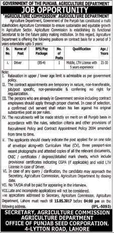 bs Details Jobs in Agriculture Department Govt of Punjab for Driver