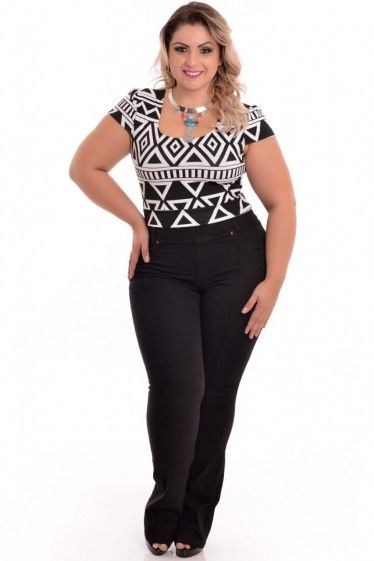 Top Cropped Étnico Plus Size