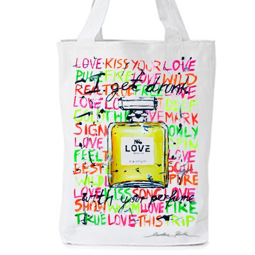 """""""Where should one use perfume?"""" a young woman asked.  """"Wherever one wants to be kissed"""" I said .  - Coco Chanel  I get drunk with your perfume : """"LOVE No 1""""  original artwork by Caroline Rovithi (www.caroline.gr) inspired by the legendary all time classic chanel No 5 perfume   WHITE ORGANIC FASHION TOTE BAG  - Climate Neutral®  100% Organic Cotton Twill Weave 170 g / 5.1 oz.  ONE SIZE : Width 36 x Height 42 x Depth 8 cm"""