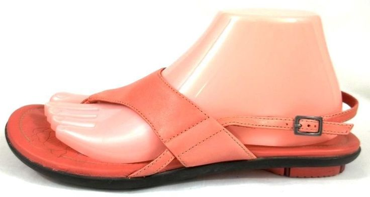 Clarks Indigo Shoes Womens 8.5 M Salmon Pink Leather Slingback Buckle Sandals #Clarks #Slingbacks