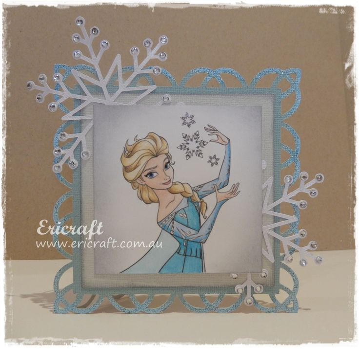 A frozen inspired card. Handmade and coloured by myself :) Order yours today at www.ericraft.com.au