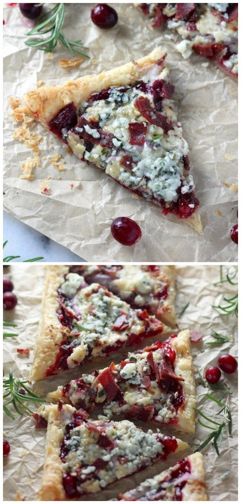 Cranberry Sauce, Bacon, and Pastry Puff Pizza
