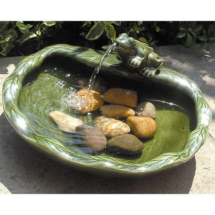 Solar Ceramic Frog Solar Bird Bath Fountain. And Itu0027s On Sale... :