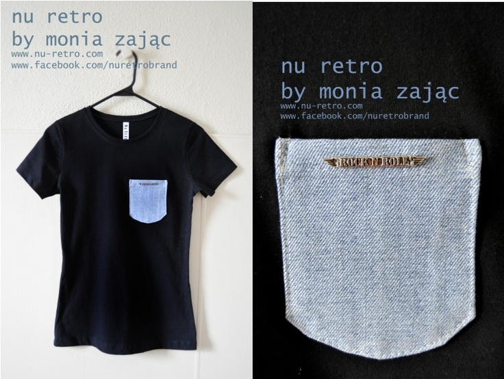 """Awesome 100% cotton T-shirt with a neat jean pocket and """" rock 'n' roll pocket.   Designed  and made by Monia Zając NU RETRO  size: Medium ( US)  fitted    https://www.facebook.com/photo.php?fbid=576757479003541=pb.428559407156683.-2207520000.1364337714=3"""