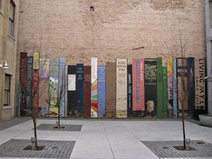 Detail of books Mural / Street art at 222 Main street in Salt Lake City, Utah.