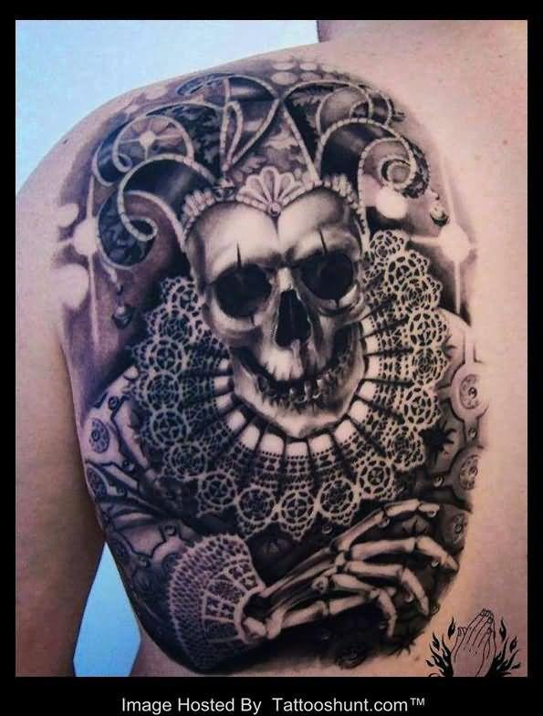 Jester skull tattoo on back shoulder   tats and flash ...