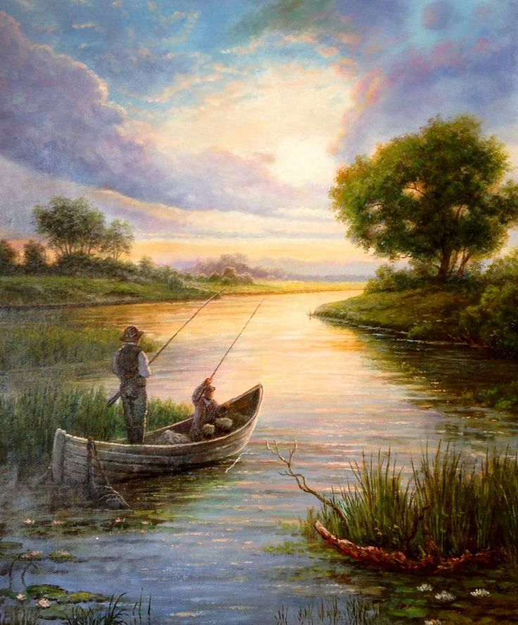 Painting : Fishing ~ By Russian Painter Smorodinov