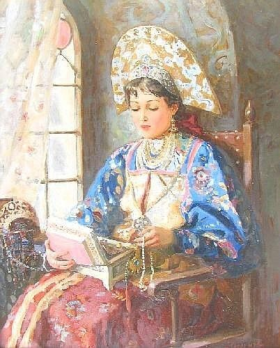 [ RUSSIAN ART ] NAGORNOV Vladislav, born 1974 'Young Russian beauty by the window', signed, 50 x 40cms.